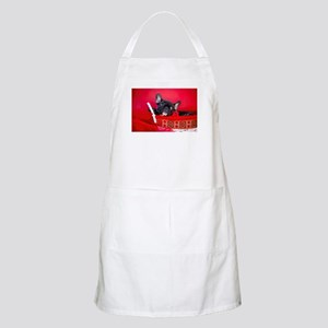Black Frenchie in Christmas Basket Light Apron