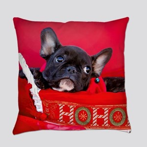 Black Frenchie in Christmas Basket Everyday Pillow