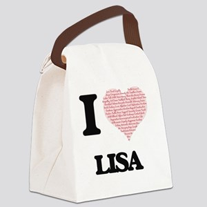 I love Lisa (heart made from word Canvas Lunch Bag