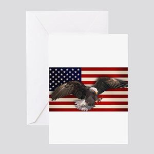 eagle_flag2 Greeting Cards