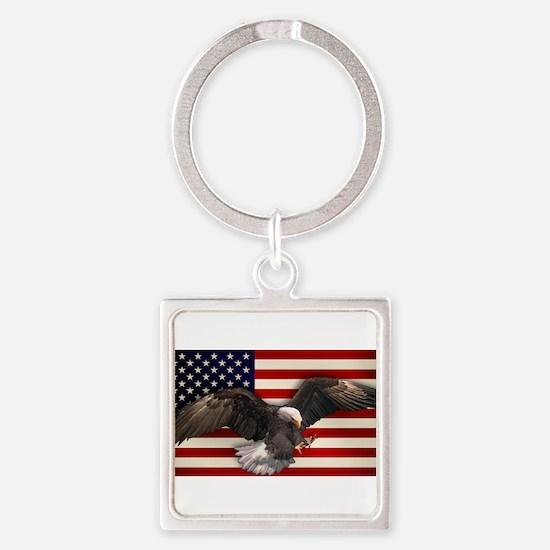 American Flag w/Eagle Keychains