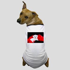 White Maltese Puppy Lying on Red Chris Dog T-Shirt