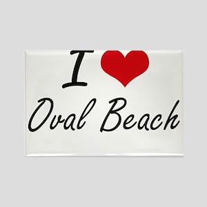 I love Oval Beach Michigan artistic desig Magnets