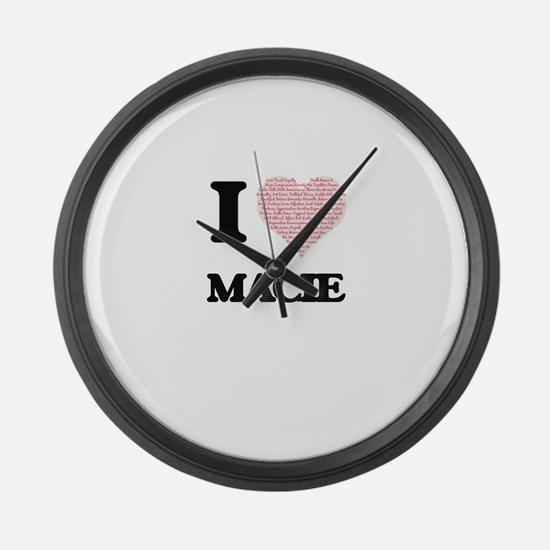 I love Macie (heart made from wor Large Wall Clock