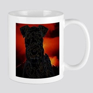 Airedale Outlines against a Volcano Mugs