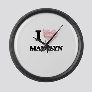 I love Madilyn (heart made from w Large Wall Clock