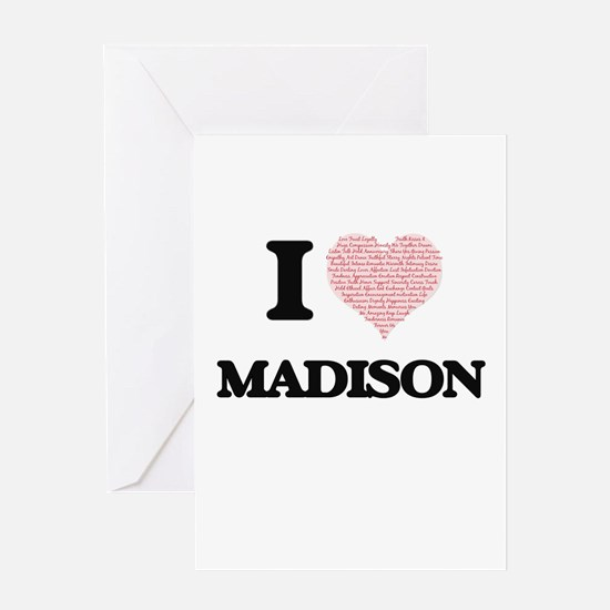 I love Madison (heart made from wor Greeting Cards