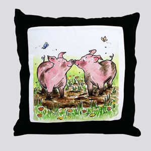 Kissin' Pigs Throw Pillow