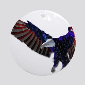 Red White and Blue American Flag Ba Round Ornament