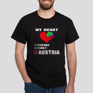 My Heart Friends, Family and Austria Dark T-Shirt