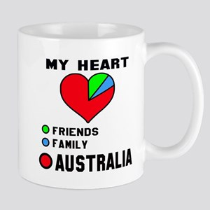My Heart Friends, Family and Au 11 oz Ceramic Mug