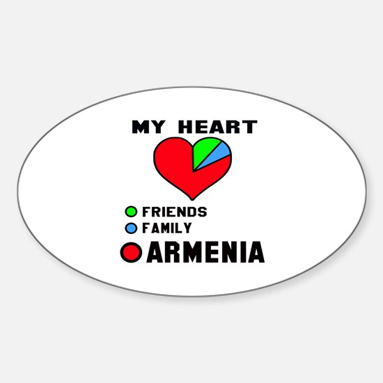 My Heart Friends, Family and Armeni Sticker (Oval)