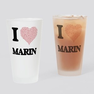 I love Marin (heart made from words Drinking Glass