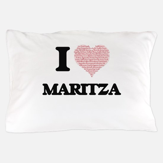 I love Maritza (heart made from words) Pillow Case
