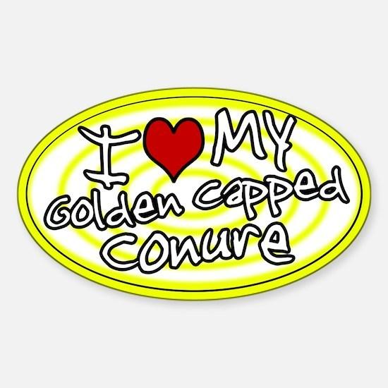 Hypno Love My Gold Cap Conure Oval Sticker Ylw