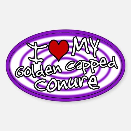 Hypno Love My Gold Cap Conure Oval Sticker Purp