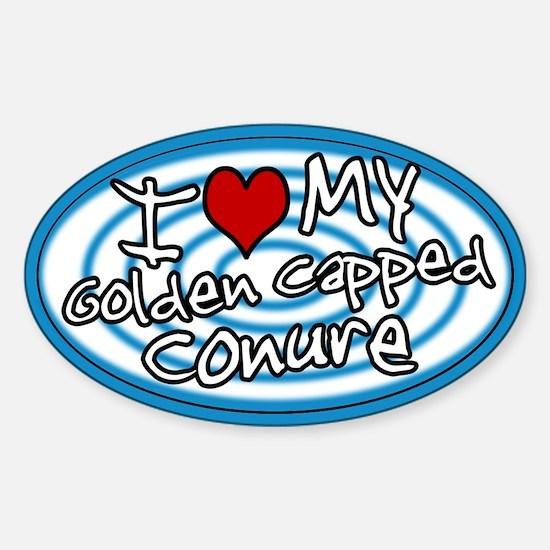 Hypno Love My Gold Cap Conure Oval Sticker Blue