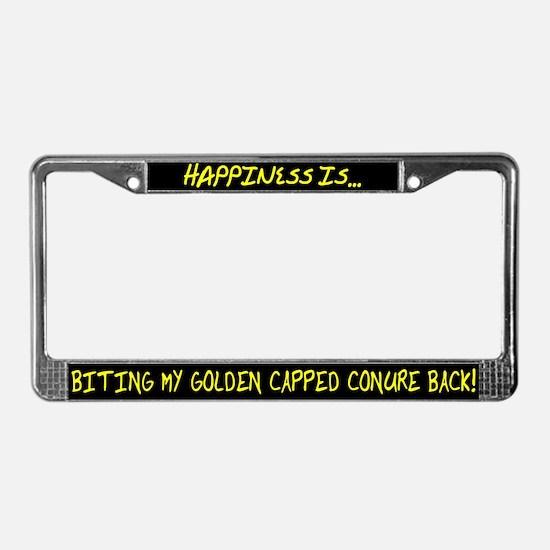 HI Biting Golden Capped Conure License Plate Frame
