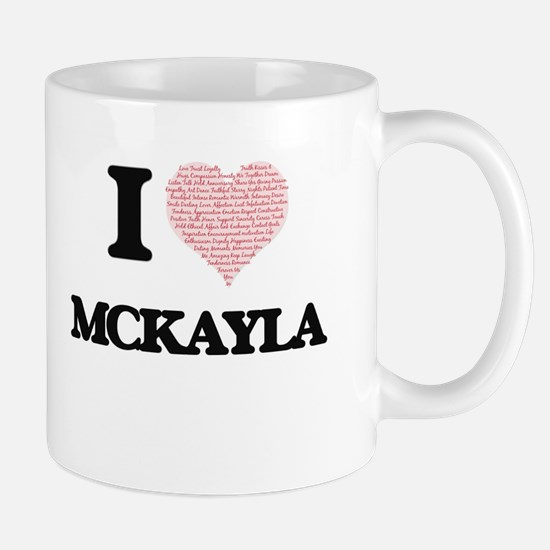I love Mckayla (heart made from words) design Mugs