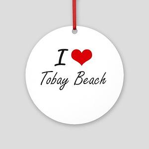 I love Tobay Beach New York artist Round Ornament