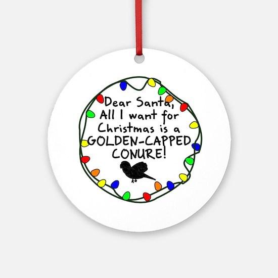 Dear Santa Golden Capped Conure Christmas Ornament