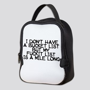 BUCKET LIST HUMOR Neoprene Lunch Bag