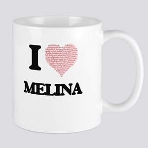 I love Melina (heart made from words) design Mugs