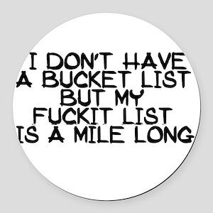 BUCKET LIST HUMOR Round Car Magnet