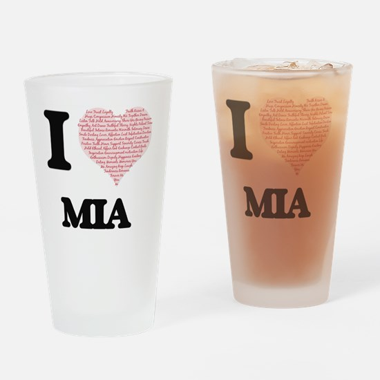 I love Mia (heart made from words) Drinking Glass