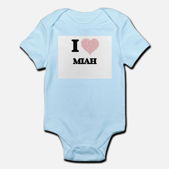 I love Miah (heart made from words) desi Body Suit