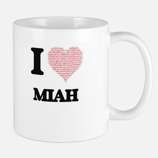 I love Miah (heart made from words) design Mugs