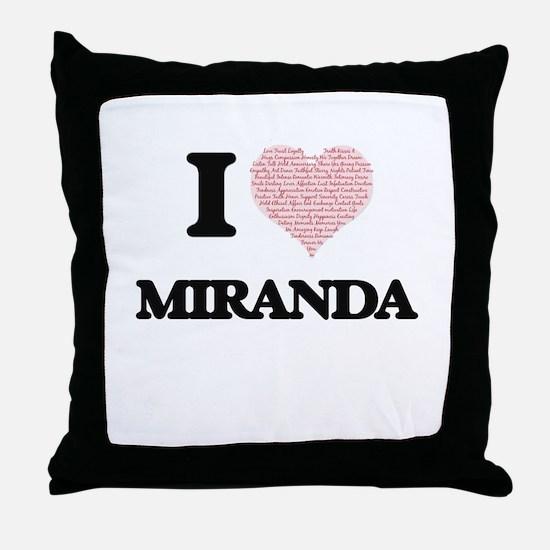 I love Miranda (heart made from words Throw Pillow