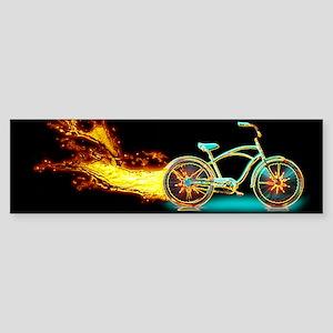 Bike flame blue Bumper Sticker