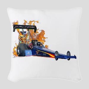 Flaming Top Fuel Woven Throw Pillow