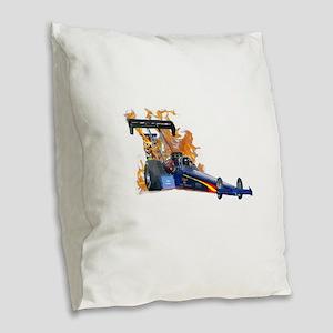 Flaming Top Fuel Burlap Throw Pillow