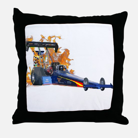 Flaming Top Fuel Throw Pillow
