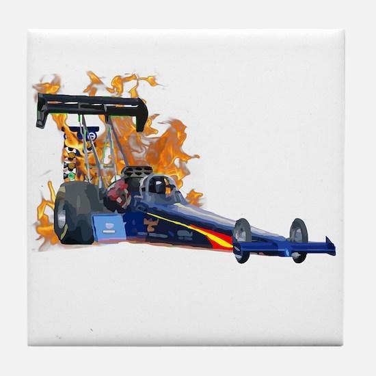Flaming Top Fuel Tile Coaster