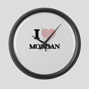 I love Morgan (heart made from wo Large Wall Clock