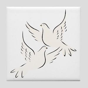 White Doves Tile Coaster