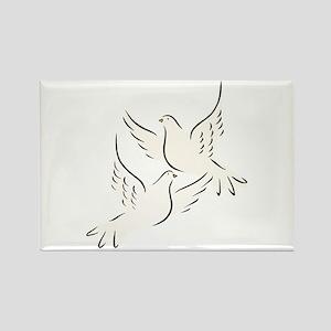 White Doves Rectangle Magnet