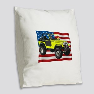 Patriotic CJ Burlap Throw Pillow