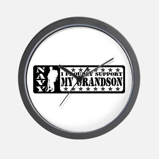 Proudly Support Grandson - NAVY Wall Clock
