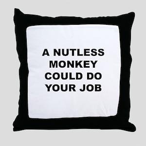 Nutless Monkey Throw Pillow