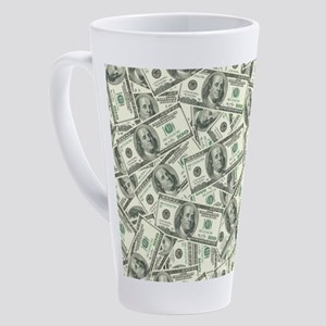 100 Dollar Bill Money Pattern 17 oz Latte Mug