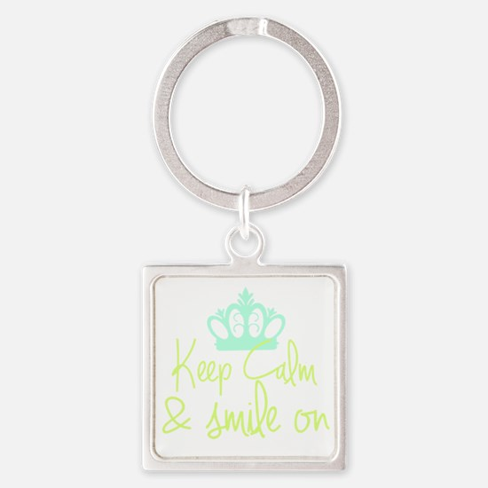 Funny Keep calm soft kitty Square Keychain