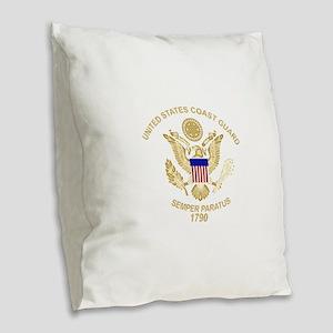 uscg_flg_d3 Burlap Throw Pillow