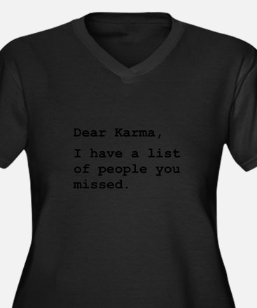 Cute Good karma Women's Plus Size V-Neck Dark T-Shirt