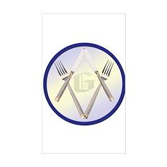 Masonic Knife and Fork Degree Sticker (Rectangular