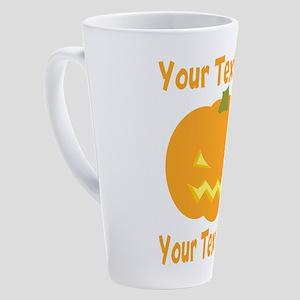 CUSTOM TEXT Jack O Lantern 17 oz Latte Mug