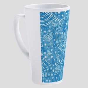 Hanukkah Menorah Pattern 17 oz Latte Mug
